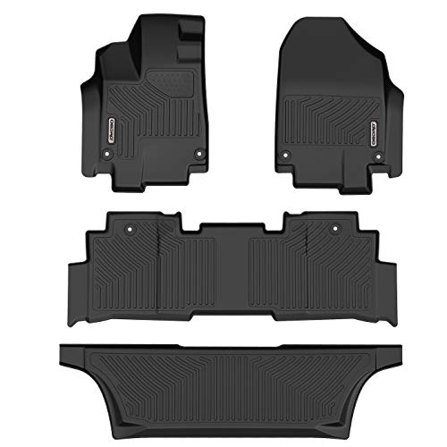 oEdRo Floor Mats Compatible for 2018-2019 Honda Odyssey, Unique Black TPE All-Weather Guard Includes 1st, 2nd and 3rd Row: Full Set Liners (Honda Odyssey)
