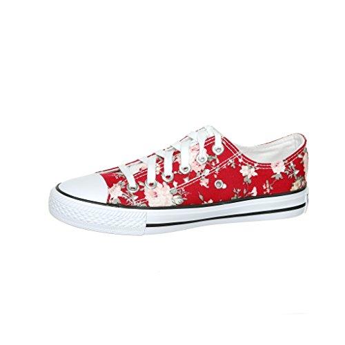 Ny Stil!! Kvinna Klassisk Canvas Skridsko Sneaker Best Seller Vin Flwr