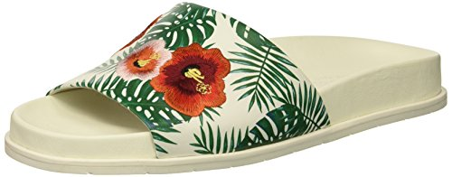 Kenneth Cole New York WoMen Xenia Palm Print Embroidered Pool Slide Sandal Green Embroidery