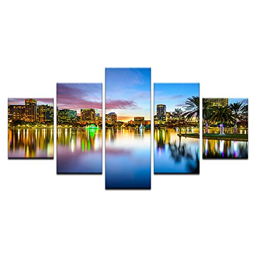 Fbhfbh 5 Panel Orlando City Skyline Canvas Print Florida USA Wall Art Canvas Painting Set Room Decor Paintings for Living Room -4x6/8/10inch,with Frame