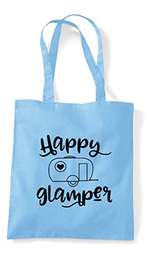 Blue Tote Statement Campervan Camper Shopper Happy Camping Bag Sky Un8C1nxw