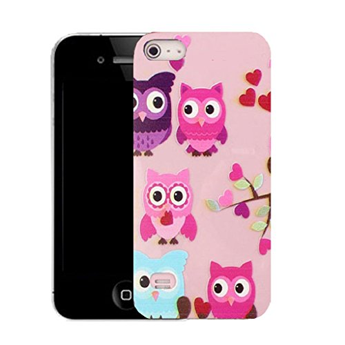 Mobile Case Mate IPhone 5 clip on Silicone Coque couverture case cover Pare-chocs + STYLET - virtue owls pattern (SILICON)