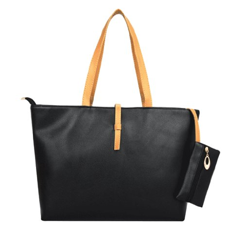 Classic Fashion Leather Tote Bags with Coin Wallet (Black)