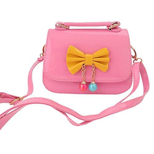 Aligle Cute Little Girls Fashionable Handbag Small Preteen Girl's Toy Kid Shoulder Purse Bag Mini Vintage Sweet Bowknot Adjustable PU Casual Messenger Shoulder Shoulder Bag Gift (Pink)]()