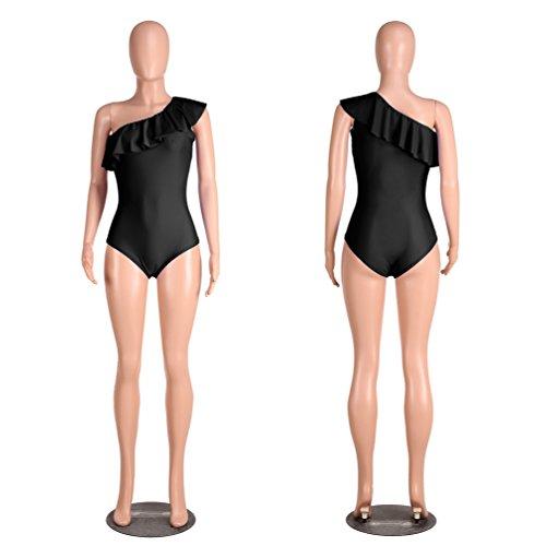 ZhiYuanAN Bañador Para Mujer Oblicuo Hombro Swimwear De Una Sola Pieza Volantes Traje De Baño Pedazo Del Hombro Bathing Suit Beachwear Negro