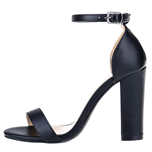 Women's Strappy Chunky Block Sandals Ankle Strap Open Toe High Heel for Dress Wedding Party Evening Office Shoes Sandals Black Size 10