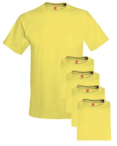 - Hanes mens 5.2 oz. ComfortSoft Cotton T-Shirt(5280)-YELLOW-M-5PK