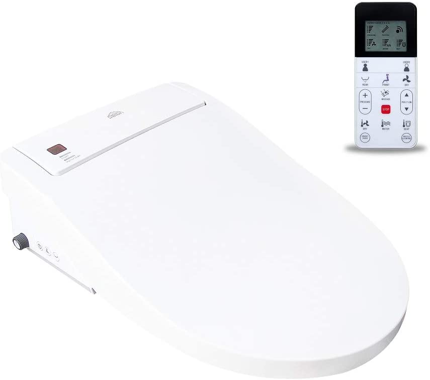 CT Heated Bidet Elongated Toilet Seat with Warm Water, Air Dryer, Remote Control, Nightlight, Dual User Settings