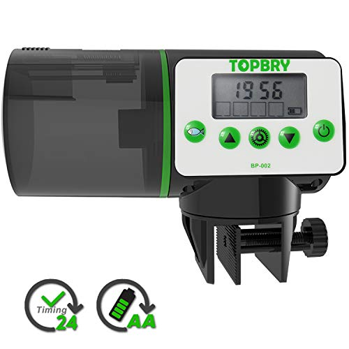 TOPBRY Automatic Fish Feeder, Digital Auto Fish Turtle Feeder for Aquarium and Fish Tank, Timer Fish Feeder Fish Food Dispenser (White) from TOPBRY