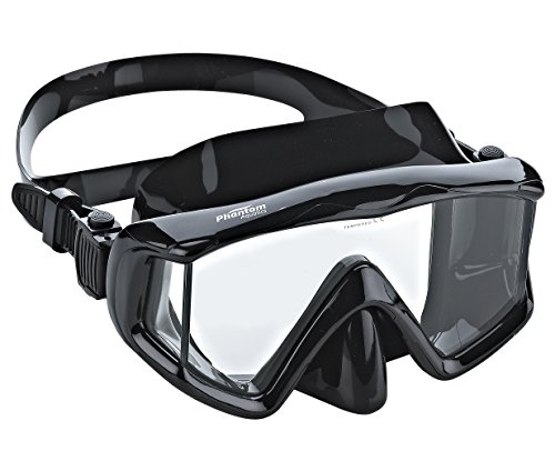Phantom Aquatics Panoramic Scuba Snorkeling Dive Mask, All Black - Edge Panoramic Low Mask