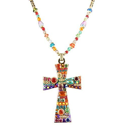 Large Rainbow Cross Necklace on Beaded Strand. Swarovski Crystals, Glass Beads, 24K Gold. Handmade in NYC.