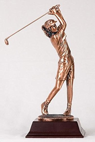 """StealStreet SS-BA-C1371F 15"""" Medium Copper Lady Golfer with Putter Tees Off Display Statue"""
