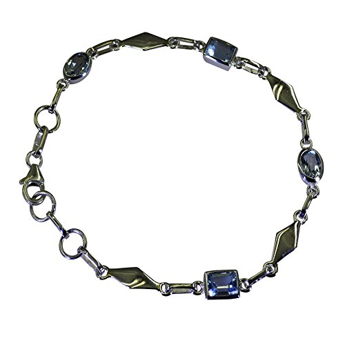 Real Blue Topaz Silver Bracelet For Women Astrological Link Style Chakra Healing Jewelry L 6.5-8 Inch