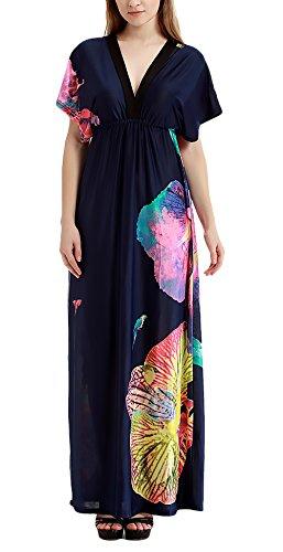 Largos Casuales Señoras Azul Elegante Mangas Fiesta Dress Playa Tallas Dresses Print Murciélago Verano Vestido Moda Oscuro Mujer De Grandes Patrón Cuello V Anchas Vestidos 4x8Bdzd