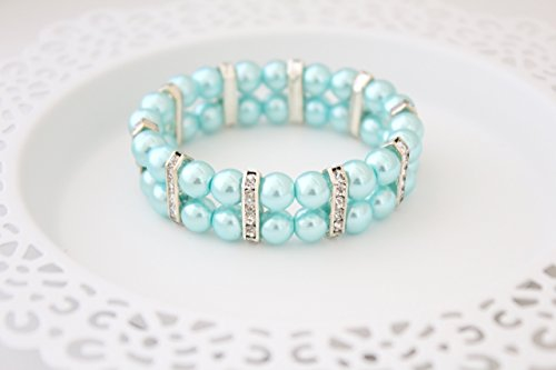 Faux Silver Bracelet (Light Blue Glass Pearl Silver Rhinestone Cuff Bracelet for Women - 7