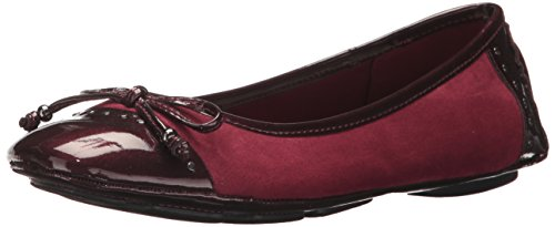 Anne Klein AK Sport Women's Buttons Fabric Ballet Flat, Wine, 5 M US