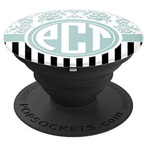 PCT Monogram Phone Grip Blue Damask Initials PCT or PTC - PopSockets Grip and Stand for Phones and Tablets
