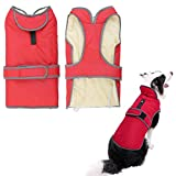 LEMONPET Dog Coat Waterproof Reflective Fleece Lining Cozy Warm Dog Jacket Winter Cold Weather Outdoor Apparel for Medium Large Dogs Clothes Red L