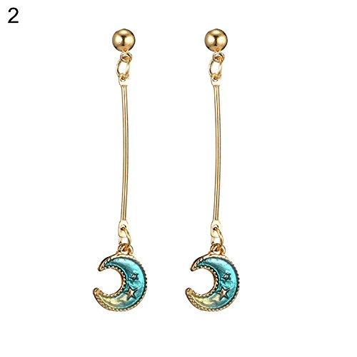 Deals Blue Sun Moon Star Tassel Dangle Ear Hooks Women Fashion Earrings Jewelry Gift ()