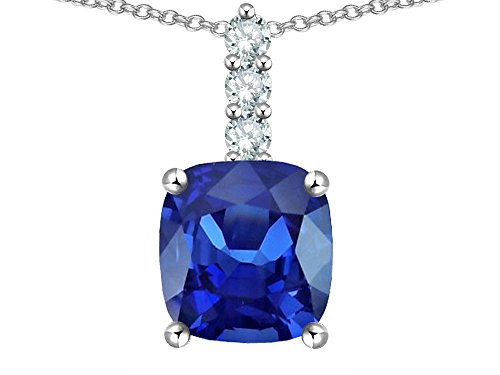 Star K 7mm Cushion Cut Created Sapphire Three Stone Pendant Necklace 14 kt White Gold