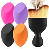 Beauty : 4+1Pcs Makeup Sponges with Contour Brush by BEAKEY, Makeup Blending Sponge for Dry & Wet Use, Latex-free Makeup Blender Beauty Sponge, Multi-Colored