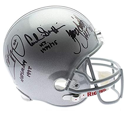 8576bc985b7 Image Unavailable. Image not available for. Color  Ohio State Buckeyes 3  Heisman Autographed Signed Silver Riddell Replica Helmet- JSA Certified  Authentic