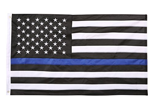Viment Thin Blue Line American Flag,3X5 Foot with Embroidered Stars ,Sewn Stripes and Grommets. by O3