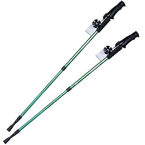 Elaine'Store Trekking Poles Non-slip Waterproof Adjustable Retractable Anti-Shock Durable Aluminum Walking Hiking Climbing Sticks for Outdoor Sport Cross-country Travel - 1 Pair (green)