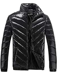 Mens Puffer Shiny Solid-Colored Plus Size Slim Fit Puffer Jacket