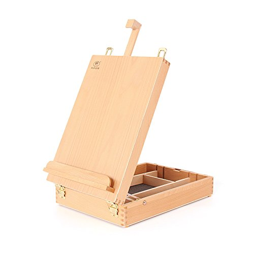 Portable Art Supplies Box Easel Sketchbox Painting Storage Box, Adjust Wood TableTop Easel For Drawing & Sketching (Box Table Easel)