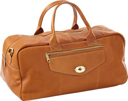 (Clava Leather Aviator Turn-Lock Duffel, Tan, US)