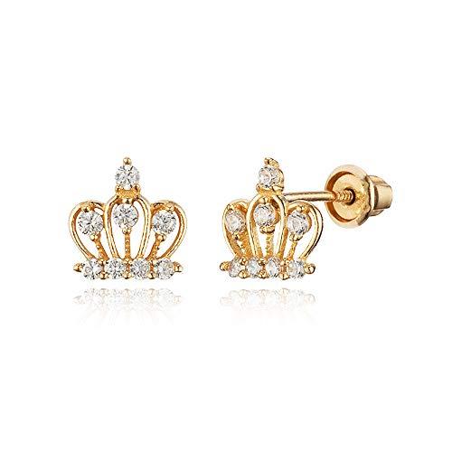 14k Yellow Gold Crown Cubic Zirconia Children Screwback Baby Girls Earrings