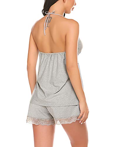 ADOME Women Pajamas Set Short Sleeve Sleepwear Pjs Sets Modal Halter Nightwear Gray L