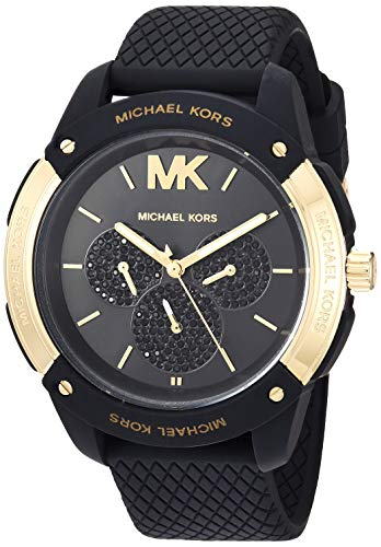 Michael Kors Women's Ryder Stainless Steel Quartz Watch with Rubber Strap, Black, 20 (Model: MK6701)