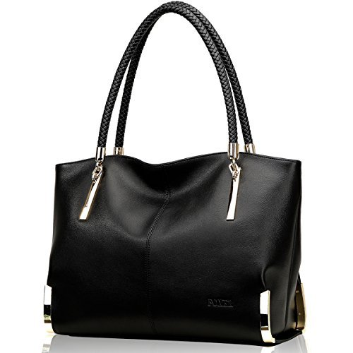 FOXER Women Handbag Leather Tote Purse Shoulder Bag Top Handle Handbags Black