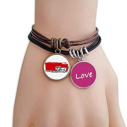Metftus Red Flag Man Woman Pen Illustration Love Bracelet Leather Rope Wristband Couple Set Estimated Price -