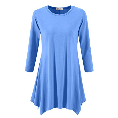 Topdress Women's Swing Tunic Tops 3/4 Sleeve Loose T-Shirt Dress Sky Blue 3X New