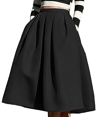 Face N Face Women's High Waisted A line Street Skirt Skater Pleated Full Midi Skirt X-Small Black