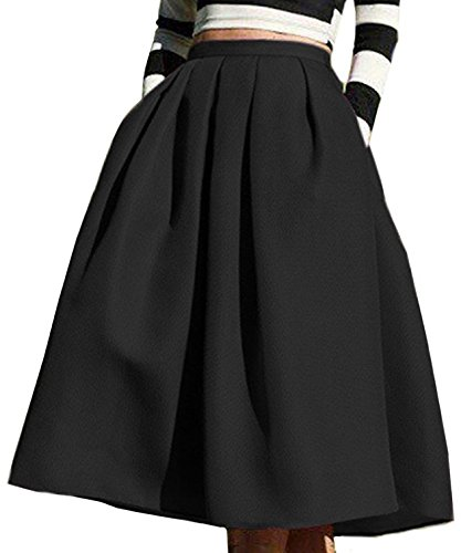 FACE N FACE Women's High Waisted A line Street Skirt Skater Pleated Full Midi Skirt Large Black