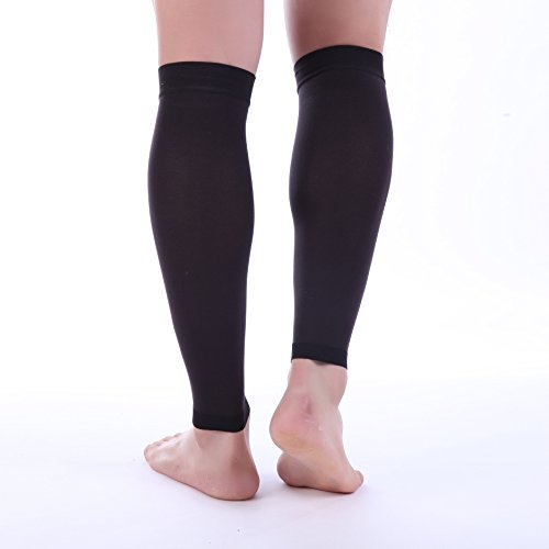 Doc Miller Premium Calf Compression Sleeve 1 Pair 20-30mmHg Strong Calf Support Graduated Pressure for Sports Running Muscle Recovery Shin Splints Varicose Veins Plus Size (Black, 3X-Large) by Doc Miller (Image #5)