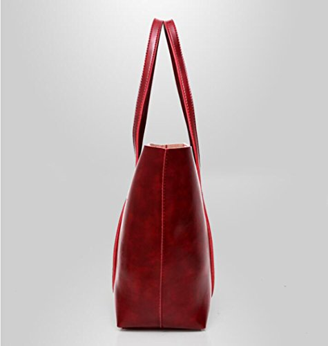 La Portefeuille Cuir Sac Sac Capacité Brown Paquet Nouveau Grande Costume De Main Mode Red À Bandoulière en Carte À Sac Forfait Mère Femmes Set E60wq