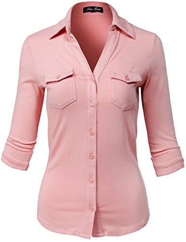 Side Rib Panel Slim Fit Cotton Elbow Sleeve Button Down Shirts,141-dark Peach,US (Bomber Deep Flat)
