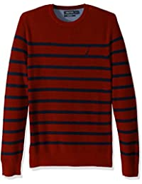 Men's Long Sleeve Striped Crew Neck Sweater
