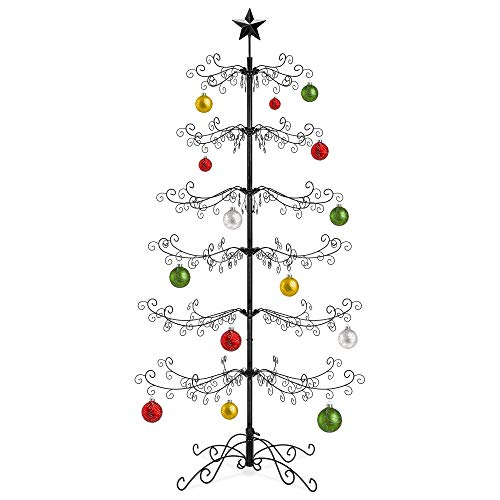 Best Choice Products 6ft Wrought Iron Ornament Display Christmas Tree w/Easy Assembly, Stand (Tree Upside Black Down Christmas)