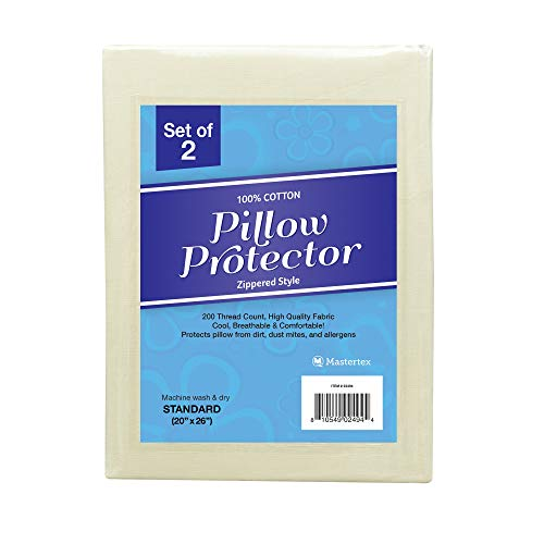 Zippered Pillow Protectors 100% Cotton Cover, Soft & Quiet, Protects Pillows from Dirt, Dust Mites & Allergens – Vanilla Color - Standard Size (20x26-2 Pack)