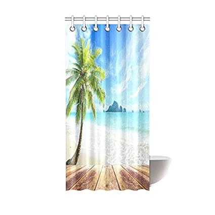 InterestPrint Ocean Beach Themed Shower Curtain Water Proof House Decor Wooden Bridge Across The