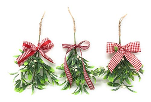 - Artificial Hanging White Berry Christmas Mistletoe Decorative Ornament Bouquet for Holiday Home Decor, Kissing Ball, Kiss Me Under, Christmas Party Decorations, Hostess Gift, Stocking Stuffer Handmade
