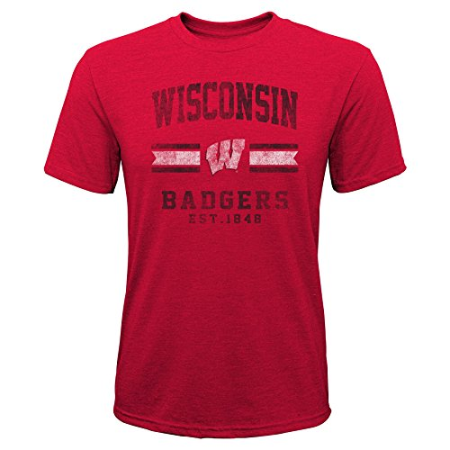 Gen 2 NCAA Wisconsin Badgers Youth Boys Player Pride Tri-Blend Tee, Youth Boys X-Large(18), Dark Red
