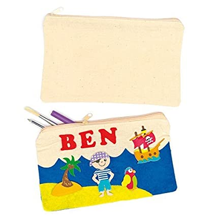 Amazon Com Baker Ross Plain Fabric Pencil Cases For Children To