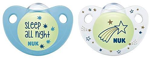 18-36 meses NUK 10177146 Trendline Night /& Day Chupete de silicona con efecto luminoso color azul